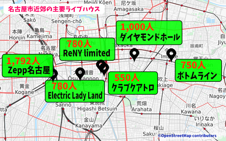 名古屋市内ライブハウスキャパ